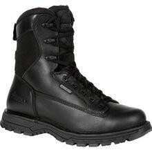 """Rocky Women's Portland 8"""" Black Side Zip Waterproof Public Service Boot"""