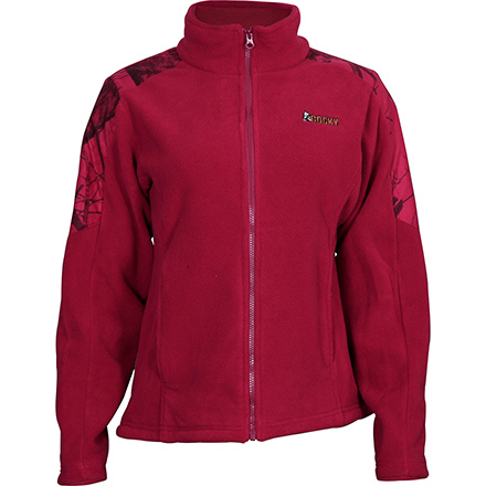 Rocky Women's Full Zip Fleece Jacket, Red Mossy Oak, large