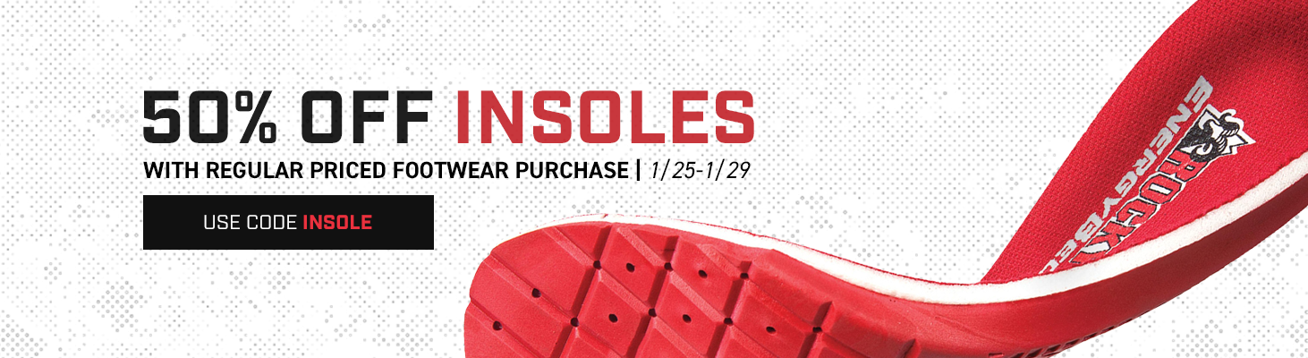 Take 50% off insoles with the purchase of regularly priced footwear. Use code INSOLE until 29 January 2020 at 11:59pm (EST). Click to shop now.