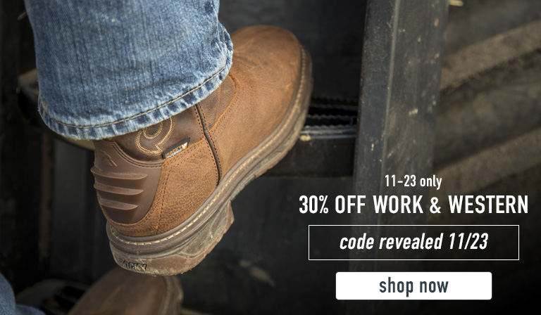 Take 30% off Work & Western this Black Friday only. Code will be revealed 11/23. Click to shop this Black Friday boot deal now.