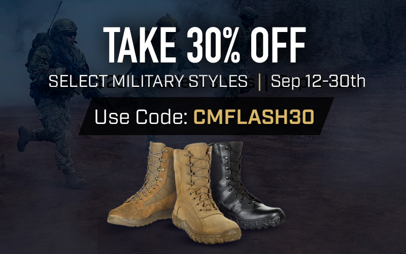 Get 30% off select military styles. Use code CMFLASH30 until 30 September 2019 at 11:59pm EST. Click to shop now.