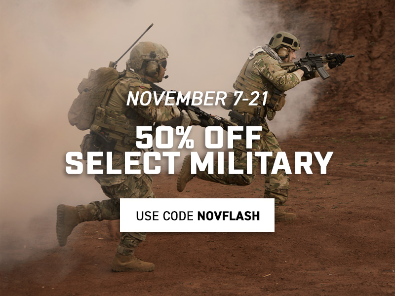 Take 50% off select commercial military styles. Use code NOVFLASH until 21 November 2019 at 11:59pm (EST). Click to shop now.